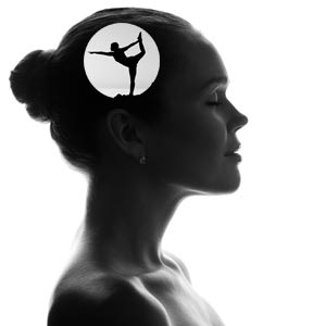 Head of woman showing yoga position where brain is located